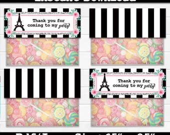 50% OFF SALE Paris, Eiffel Tower, Treat Bag Topper, Treat bag toppers, Instant Download, pdf jpg