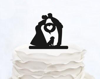 Wedding Cake Topper_Couple Silhouette_Bride And Groom Cake Topper With Dogs_Custom Cake Topper_Funny Cake Topper