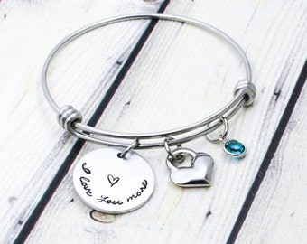 I love you more Bracelet - I Love you more Jewelry - Mother Daughter Jewelry - Mommy Daughter Bracelet - Hand Stamped Jewelry - Heart Bangle