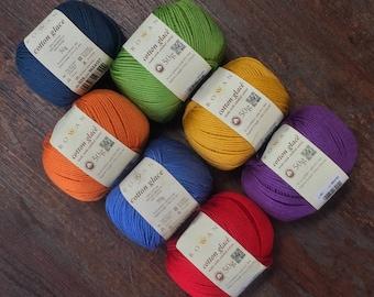 Rowan Cotton Glace 6.99+.99ea to Ship Mercerized 100% Cotton DK Weight Yarn Dark Blue Orange Green Blue Yellow Violet - MSRP 8.50