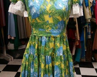 Vintage Lace Trimmed Square Dancing Dress - Neon Garden