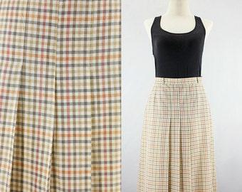 Vintage Burberrys Classic Plaid Skirt | Cotton x Hemp Summer Pleated Skirt | Midi Length Office Secretary Skirt | Burberry Brown Medium M