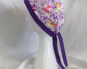 Lavender and Purple Unicorns Surgical Scrub Cap Dentist Chemo Hat