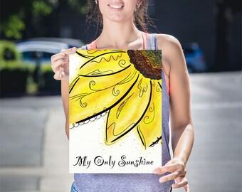 My Sunshine Wall Art, Sunflower Nursery Art, Sunflower Print On Canvas, Yellow Flower Canvas, Lullaby Art, Sunflower Canvas Art