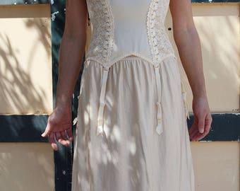 Vintage beige lace corset bustier bra top underwear.cup C 75