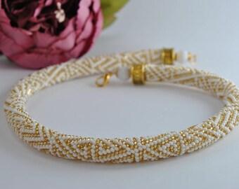 Luxury Handmade Jewelry Crochet, Rope beads crochet, Crochet beaded Necklace, Bead necklace, Handmade necklace, White jewelry, Beadwork