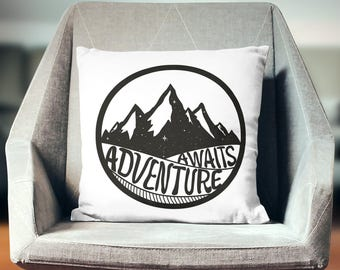 Adventure Awaits Pillow | Retirement Gift | Wanderlust Pillow | Adventure Awaits Throw Pillow | Wanderlust Gift| Adventure Awaits