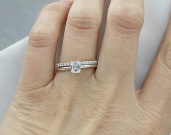 Diamond Engagement ring Emerald cut Engagement Ring diamond ring Solitaire ring