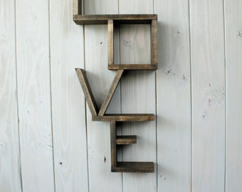 Rustic love shelf - handmade shelf - wood shelf - Wood shelving - home decor - rustic decor - rustic shelf -nursery decor - country decor