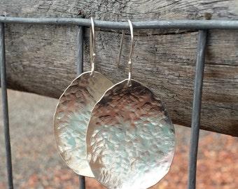 Large hammered sterling silver drop/dangle earrings, handmade sterling silver earrings, silver dangle earrings, silver drop earrings
