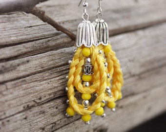 Summer party Summer outdoors Yellow earrings Tribal earrings Braid jewelry Boho earrings Birthday gift|for|girlfriend Hippie Rope jewelry