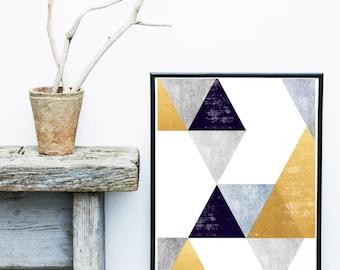 Scandinavian Art,  Printable Art, Abstract Art Print, Modern Art, Wall Decor, Wall Art, Digital Download, Poster, Navy and Gold Print
