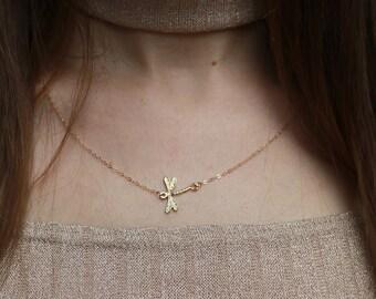 Dragonfly Gold Vermeil Necklace - 14k Gold Filled, 18k Gold vermeil, Delicate Necklace, Charm Necklace, Dragonfly Necklace