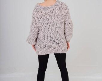 Knitted wool sweater Oversized sweater Big yarn Knit sweater Knitted sweater Wool sweater Boho sweater Women's knitting Knitted sweater