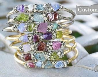Birthstone Bracelets, Birthstone Jewelry, Gemstone bracelets, Garnet, Amethyst, Aquamarine, Herkimer Diamond, Emerald, Pearl, Ruby, Peridot