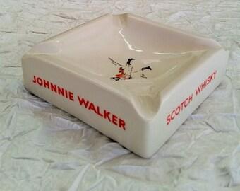 Vintage Ceramic Ashtray, Johnnie Walker Scotch Whisky, Huntley Ware Australia