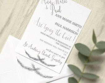 Rustic Wedding Invitation, Wedding Invitation, Winter Wedding Invitation, Green Wedding Invite, Summer Wedding Invite, Greenery Wedding