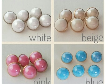 Buttons (a set of 6 Vintage Style Faux Pearl ) Available in White Beige Pink Blue Free Shipping Worldwide for this item