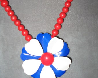 Americana Vintage Brooch Beaded Necklace...4th Of July Fun