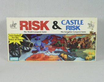 1990 Risk & Castle Risk Board Game - Two Games in One - Complete Plus Extra Pieces - Parker Brothers - Vintage 1990s Board Game