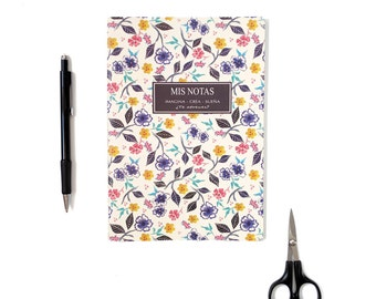 Notebook, dairy, personal diary, floral pattern notebook, trip notebook, design painted by hand, stationery, gift idea
