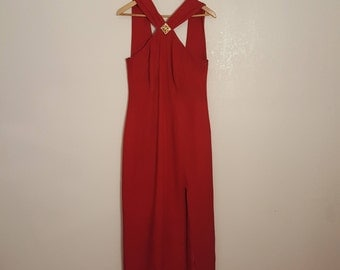 Red Dress / Grunge Dress / 90s Dress / Feminine Dress / Scarlett / Halter