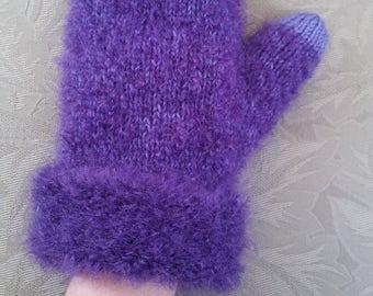 Purple Fuzzy Wool Mittens
