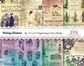 Vintage Fashion - 12 x 12 inch. - 6 digital Papers -  Instant Download - Digital Scrapbook -