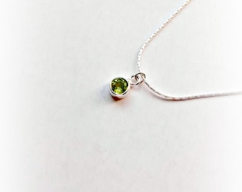 Sterling Silver Peridot Necklace  August Birthstone Gift for Her Green  Gemstone Pendant