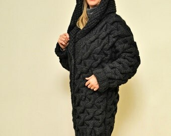 To ORDER Hooded Chunky Wool Coat Cable Knit Thick Cardigan Hand Knitted by Tangles Creations
