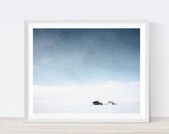 Norway poster, norway print, winter landscape, snow, winter, scandinavian print, sky photography, nature prints, winter wall decor