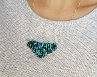 Paua Shell Bib Necklace | Sea Shell Necklace | Abalone Necklace | Paua Shell Jewelry | Paua Shell Necklace | Fan Necklace | Bib Necklace