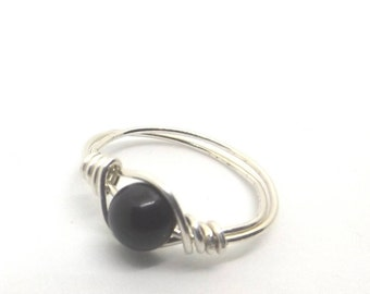 6 mm Black Agate Bead Ring