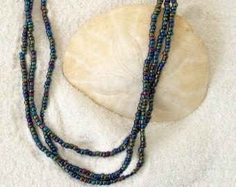 Teal & Lavender Iridescent Seed Bead Three Strand Necklace - Seed Bead Three Strand Jewelry - Nature Inspired Iridescent Seed Bead Jewelry