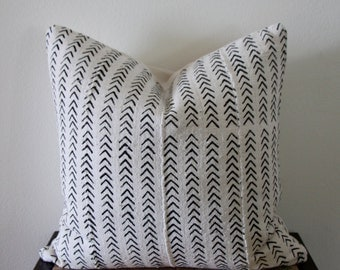 African Mud Cloth Pillow Cover with Linen Back 20x20