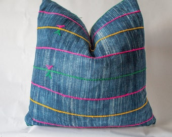Indigo Mudcloth Pillow Cover with Colorful Embroidered Stripes / 22x22 / Rainbow