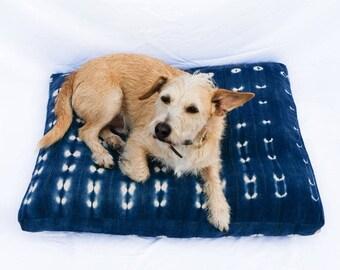 Made-To-Order: Indigo Shibori Pet Bed // Bohemian mudcloth dog bed