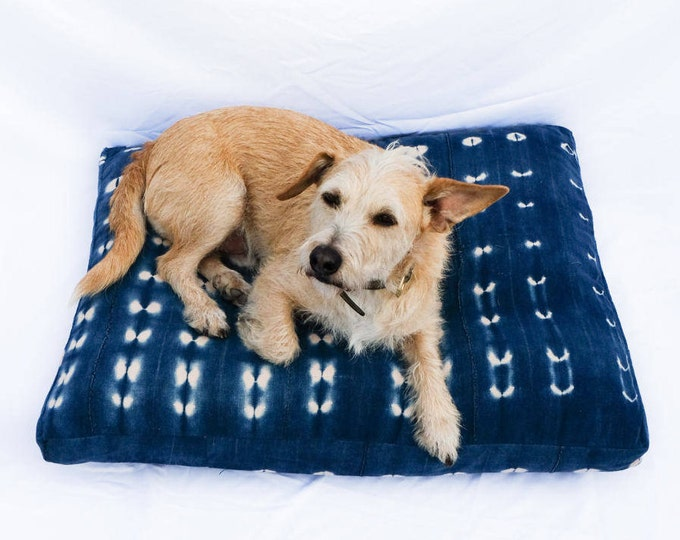 Made-To-Order: Indigo Shibori Pet Bed // Bohemian mudcloth dog bed