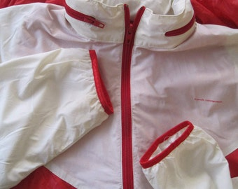 Windbreaker, French Connection, Size M, Red & White, Zippered Collar with Hood, Pockets, Lined Sleeves, Elastic Binding, Vintage