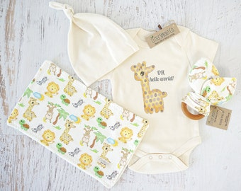 Organic Baby Clothes, Gender Neutral, Baby Accessories, Baby Giraffe, Oh Hello World, Safari, bodysuit, teether toy, wash/burp cloth, cap