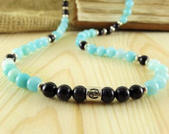 Cancer necklace cancer birthstone necklace for cancer jewelry blue goldstone necklace blue amazonite necklace elegant necklace gemstone