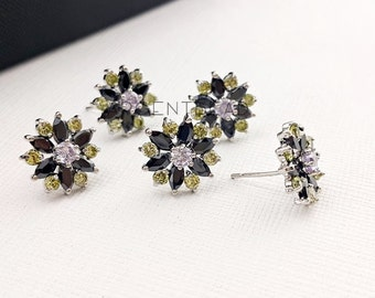 2pc  13mm Flower earring component charm Peridot and black