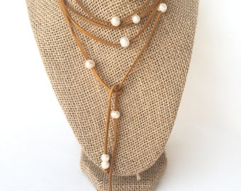 Pearl Wrap Choker - Pearl Wrap Necklace - Pearl Studded Wrap Necklace - Pearl Suede Necklace - Gifts Under 50 - Woman Gift Under 50 - Cindy