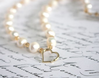 9K Gold Diamond Heart Pendant on Freshwater Pearls with Crystals, Wedding Jewellery, Mother of the Bride