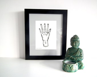Alien old hand Illustration Art Ink and Pen Print