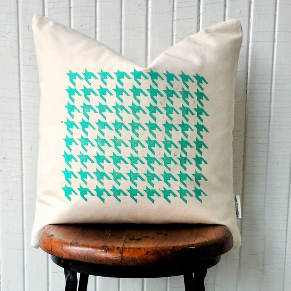 "FREE SHIPPING! Houndstooth pillows, set of 2 pillows, organic throw pillows, houndstooth pattern, blue green 18"", urban decor, modern pillow"