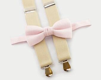 Groomsmen Bow Tie Suspenders Baby Boy Suspenders Bowtie Blush Bow Tie & Champagne Suspenders
