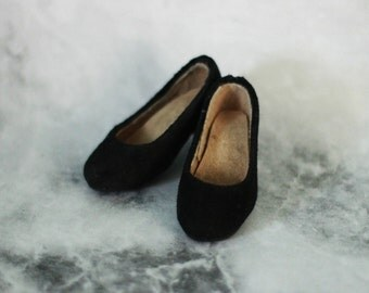 1/4 shoes: basic black suede heel shoes for Minifee MSD bjd PRE ORDER