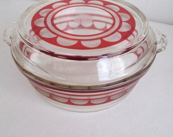 Vintage 1930s Etched Pyrex Covered Casserole Dish Walter Dorwin Teague