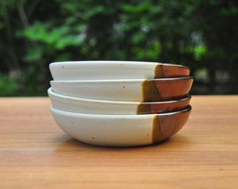 Ceramic Bowl / Speckled White, Iron Red-Brown & Olive